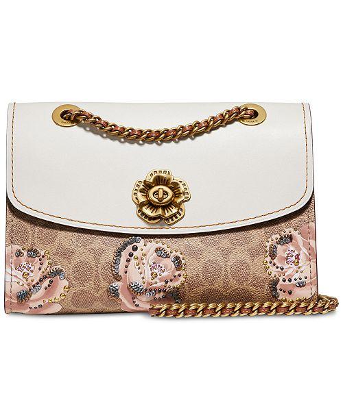 e180d3d6b0c4 COACH Signature Rose Print Parker Medium Shoulder Bag - Handbags ...