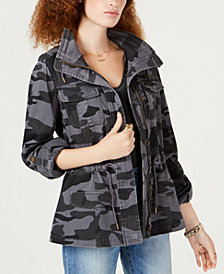 American Rag Juniors' Camo-Print Utility Jacket, Created for Macy's