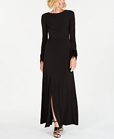 Calvin Klein Feather-Cuff Ruched Gown