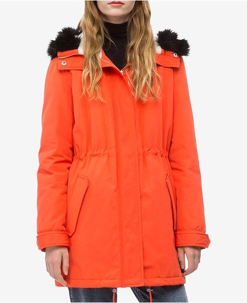 a95ba445 Calvin Klein Jeans Hooded Faux-Fur Parka Jacket & Reviews ...