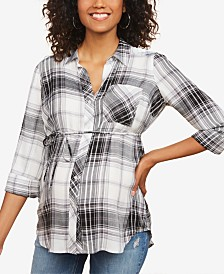 Motherhood Maternity Plaid Cotton Shirt