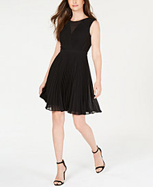 Anne Klein Pleated Fit & Flare Dress