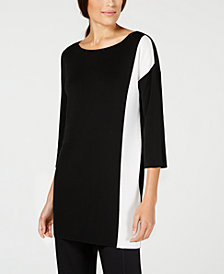 Eileen Fisher Tencel® Colorblocked Boat-Neck Sweater, Regular & Petite