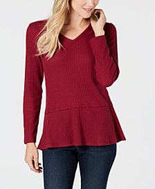 Style & Co V-Neck Thermal Top, Created for Macy's