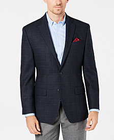 Michael Kors Men's Classic/Regular Fit Blue/Navy Plaid Wool Sport Coat