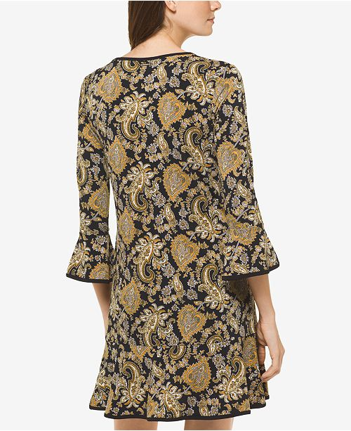 9b6234b81444 Michael Kors Paisley-Print Bell-Sleeve Dress, In Regular & Petite Sizes ...
