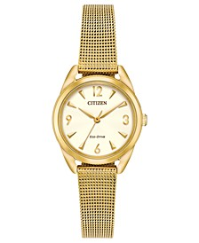 Drive from Citizen Eco-Drive Women's Gold-Tone Stainless Steel Mesh Bracelet Watch 27mm