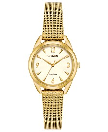 Citizen Drive from Citizen Eco-Drive Women's Gold-Tone Stainless Steel Mesh Bracelet Watch 27mm