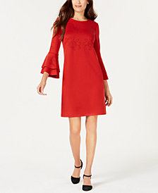 Alfani Petite Lasercut Bell-Sleeve Dress, Created for Macy's