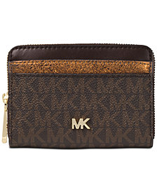 MICHAEL Michael Kors Signature Metallic Zip Around Card Case