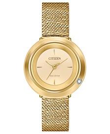 Eco-Drive Women's L Ambiluna Diamond-Accent  Gold-Tone Stainless Steel Mesh Bracelet Watch 32mm