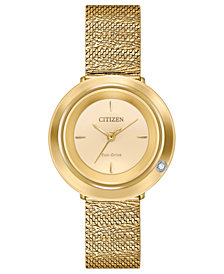 Citizen Eco-Drive Women's L Ambiluna Diamond-Accent  Gold-Tone Stainless Steel Mesh Bracelet Watch 32mm