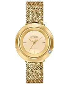 Citizen Eco-Drive Women's L Ambiluna Diamond-Accent  Gold-Tone Stainless Steel Mesh Bracelet Watch 32mm