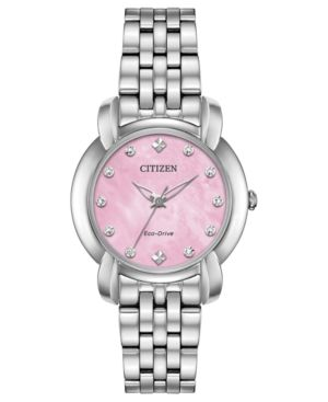 CITIZEN Eco-Drive Women'S Jolie Diamond-Accent Stainless Steel Bracelet Watch 30Mm in Pink/Silver