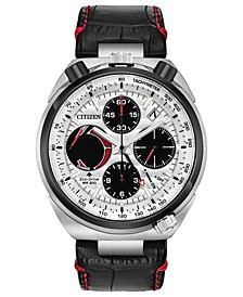 Eco-Drive Men's Chronograph Promaster Tsuno Racer Black Leather Strap Watch 45mm
