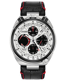 Citizen Eco-Drive Men's Chronograph Promaster Tsuno Racer Black Leather Strap Watch 45mm