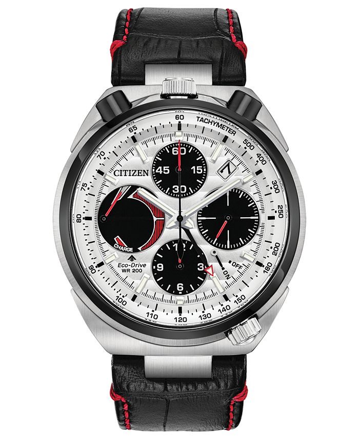 Citizen - Men's Chronograph Promaster Tsuno Racer Black Leather Strap Watch 45mm