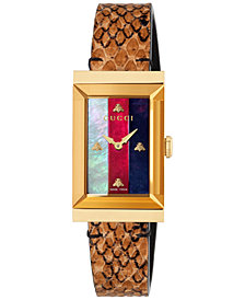 Gucci Women's Swiss G-Frame Bright Cuir Ayers Leather Strap Watch 21x40mm