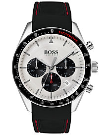BOSS Hugo Boss Men's Chronograph Trophy Black Rubber Strap Watch 44mm