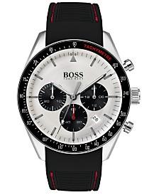 BOSS Hugo Boss Men's Chronograph Trophy Black Rubber Strap Watch 44mm