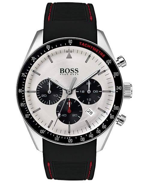 8e14394d753 ... BOSS Hugo Boss Men's Chronograph Trophy Black Rubber Strap Watch ...