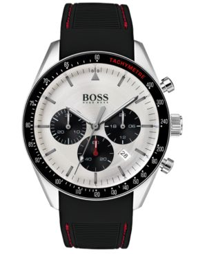 HUGO BOSS Trophy Stainless Steel Silicone Strap Chronograph Watch in Black