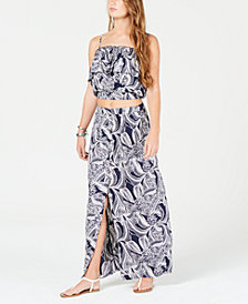 Roxy Juniors' Printed Crop Top & Maxi Skirt