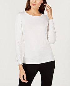 Alfani Petite Long-Sleeve Ruched Top, Created for Macy's