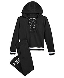 DKNY Big Girls Lace-Up Hoodie & Moto Jogger Pants