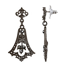 2028 Black-Tone Belle Epoch with Pave Hematite Color Stones Chandelier Earrings