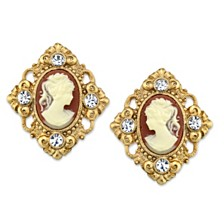 2028 14K Gold-Dipped Cameo and Crystal Accent Clip Earrings