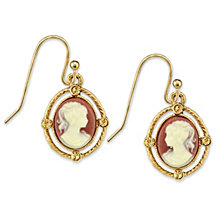 2028 Gold-Tone Simulated Dark Orange Cameo Oval Drop Earrings