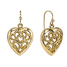 2028 Filigree Heart Drop Earrings