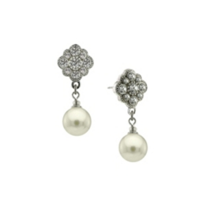 2028 Silver-Tone Crystal and Simulated Pearl Round Drop Earrings