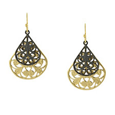 2029 Filigree Pearshape Overlay Drop Earrings