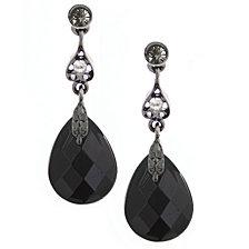 2028 Jet Black Diamond Briolette Drop Earrings