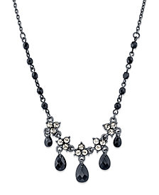 "2028 Black-Tone Black Diamond Color Flower Teardrop Necklace 15"" Adjustable"