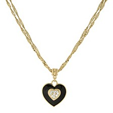 "Gold-Tone Black Enamel Heart with Swarovski Crystal Accent Necklace 16"" Adjustable"