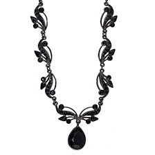 "2028 Black-Tone Black Crystal Swarovski Elements Vine Teardrop Necklace 16"" Adjustable"