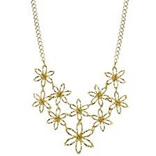 "Gold-Tone Flower Bib Necklace 16"" Adjustable"