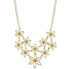 "2028 Gold-Tone Flower Bib Necklace 16"" Adjustable"
