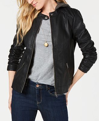 Faux Leather Hooded Moto Jacked