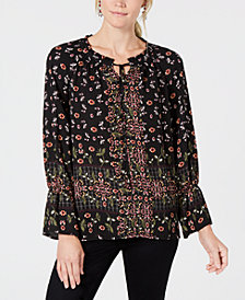 Style & Co Printed Peasant Top, Created for Macy's