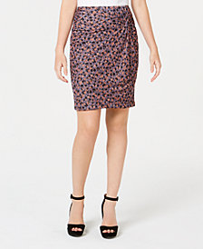 1.STATE Ditsy Drift Ruched Mini Skirt