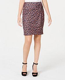 1.STATE Ditsy Drift Ruched Mini Skirt