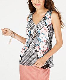 Thalia Sodi Cutout Flounce-Hem Necklace Top, Created for Macy's