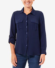 NY Collection Roll-Tab-Sleeve Utility Shirt