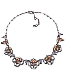 "Jenny Packham Hematite-Tone Crystal Openwork Collar Necklace, 16"" + 2"" extender"