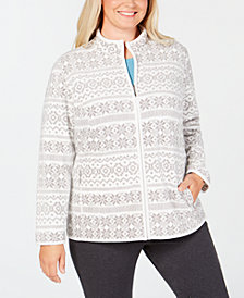 Karen Scott Plus Size Fair-Isle Stand-Collar Jacket, Created for Macy's