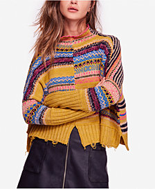 Free People All The Pattern Printed Ripped Sweater